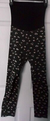 Motherhood Oh Baby Black Floral Maternity Leggings  -  Size Large - Nwt