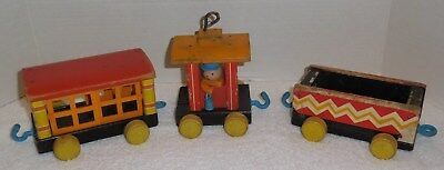 Vintage FISHER PRICE 1950s/1960s HUFFY PUFFY #999 Pull Toy Train Pieces Lot of 3