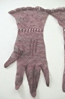 Pair Of Vintage Burgundy Crochet Gloves Ss846
