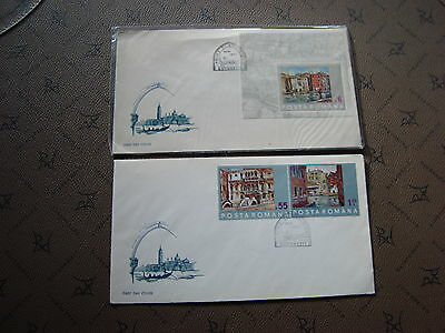 ROMANIA 2 enveloppes20/10/72 -stamp Yvert and Tellier n°2715 2716 bloc100 (cy2)