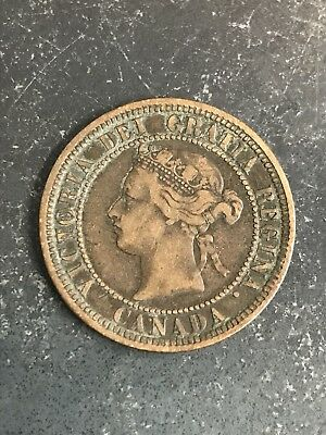 1881 H Canada Large One Cent Coin - FREE SHIPPING