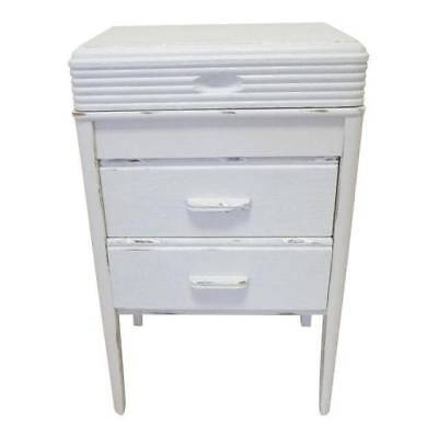 ANTIQUE Side Table Sewing Cabinet Lift Top Fitted Interior 2 Drawers PAINTED