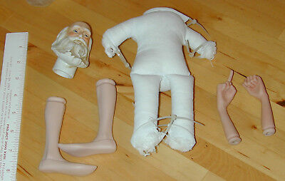 DIY Santa Doll Kit Porcelain Head Arms Legs