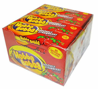 20 x HUBBA BUBBA SERIOUSLY STRAWBERRY SOFT BUBBLE CHEWING GUM WRIGLEY CANDY