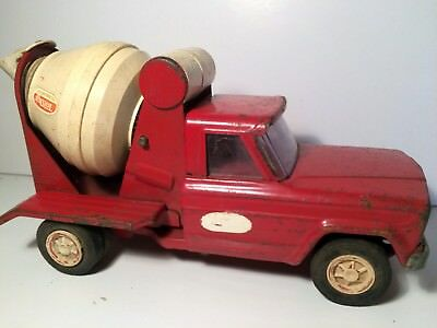 Vintage Pressed Steel Toy Tonka Jeep Cement Mixer Red Truck from 1960's