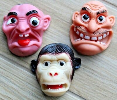 Lot Of 3 Vintage Rubber Face Finger Hand Puppets ~ Creepy Weird Funny Silly Cool
