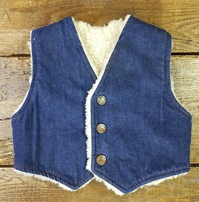 Vintage Billy the Kid Denim Faux Shearling Sherpa Snap Vest Childs Size 2T (K3)