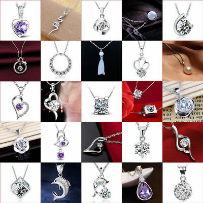 Women Fashion 925 Silver Crystal Heart Pendant Necklace Clavicle Chain Xmas Gift