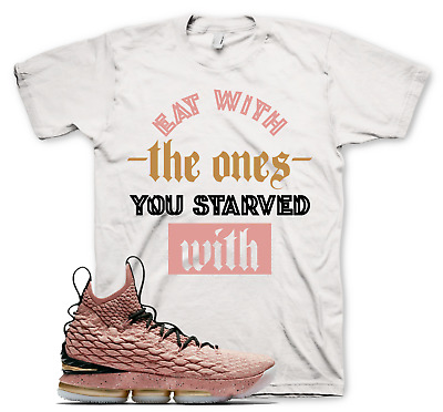 5cb66e2a61f54c White STARVED T Shirt for Nike Lebron 15 Hollywood All Star Rust Pink Gold