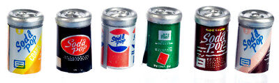 Dollhouse Miniature Six Assorted Pop Cans - 1:12 Scale