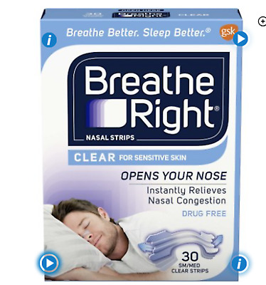 Breathe Right Anti-Snoring & Congestion Nasal Strips, Clear, Small/Medium, 30 Ct