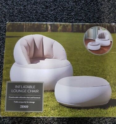 Strange New Tesco Indoor Outdoor Inflatable Chair And Footstool Dailytribune Chair Design For Home Dailytribuneorg