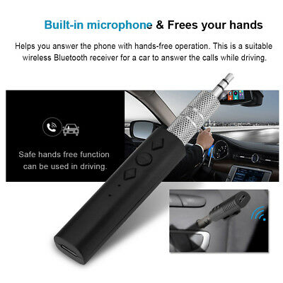 Wireless Bluetooth Receiver 3.5mm Mic AUX Audio Stereo Music Home Car Adapter ZZ