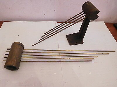 "ANTIQUE OLD CLOCK PARTS 4 BAR No5 PILLAR GONG+5 BAR BRASS BARREL GONG[13""LONG]"