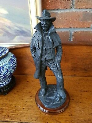 AUSTRALIAN FARMER STOCKMAN STATUE by BRIAN POWERS - POTTERY or BRONZE or ????