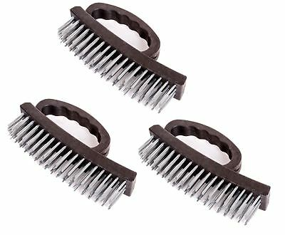 3 x Stiff Metal Wire Scrubbing Brush Grip Handle Ideal for Rust Paint Removal