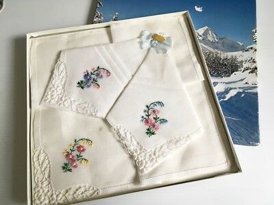 Retro Vintage1960s- 3 Swiss Embroidered Cotton Voile & Lace Hankies Boxed UNUSED