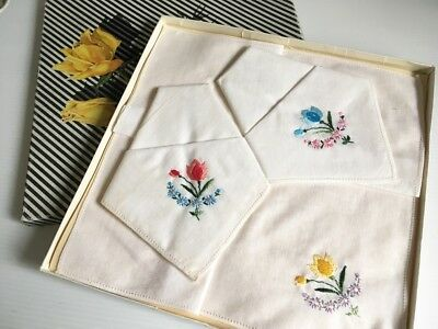 Retro Vintage1960s - 3 White Embroidered Cotton Voile Hankies Boxed UNUSED