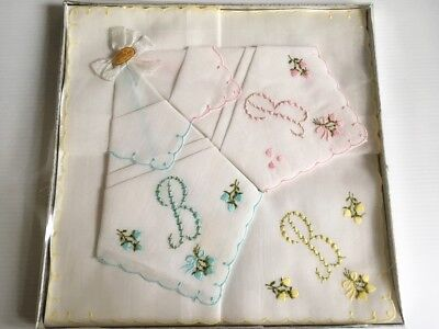 Retro Vintage1960s - 3 Monogrammed Embroidered Cotton Voile Hankies Boxed UNUSED