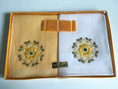 Retro Vintage1960s - 2 Embroidered Swiss Cotton Hankies Boxed UNUSED