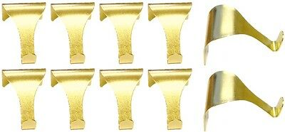 10 x Picture Rail Moulding Hooks Wall Hanging Photo Frame Brass Storage Hook