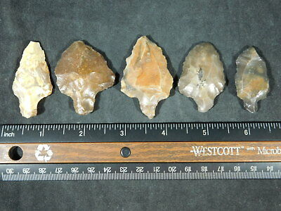 Lot of FIVE Nice! 55,000 to 12,000 Year Old Aterian Artifacts Algeria 58.1gr