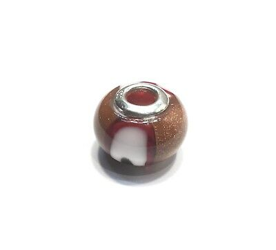 Murano Glass Sterling Silver 925 Slider Bead Charm Copper Red White Black
