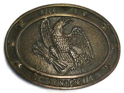 VINTAGE METAL BRASS BELT BUCKLE- 1776-1976 Bi-Centennial Eagle