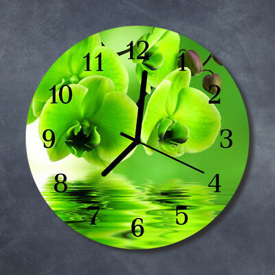 Glass Wall Clock Kitchen Clocks 30 cm round silent Orchid Green