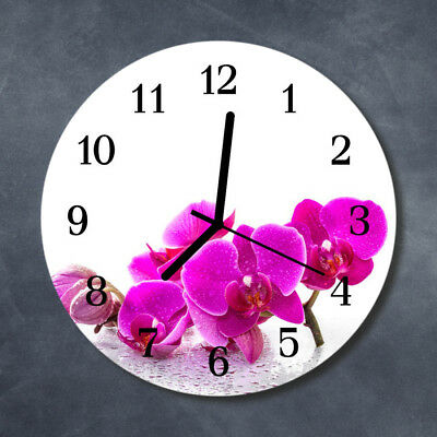 Glass Wall Clock Kitchen Clocks 30 cm round silent Orchid Pink