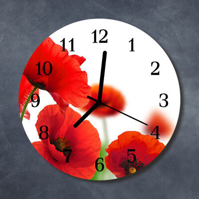Glass Wall Clock Kitchen Clocks 30 cm round silent Poppies Red