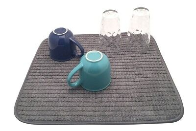 Chevron Absorbent Microfibre Dish Drying Mat. Rack Drainer Non Scratch Surface