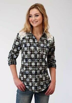 SALE! Roper Women's Green Plaid with White Polka Dots L/S Shirt 03-050-0597-6774