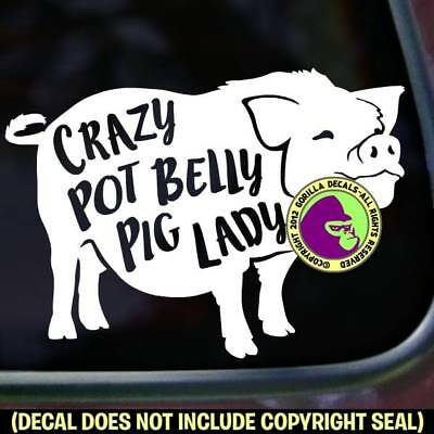 CRAZY POT BELLY PIG LADY Vinyl Decal Sticker Love Car Window Wall Laptop Sign