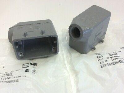 Lot of 2 Harting 193000101520, Han 10B-gs-M20 Connector Hood Housing Side Entry