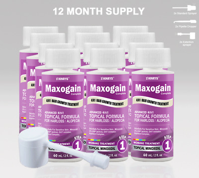 Womans Maxogain 4in1 Minoxidil Topical 12x60mL 2% Active Nutrient + Inhibitor