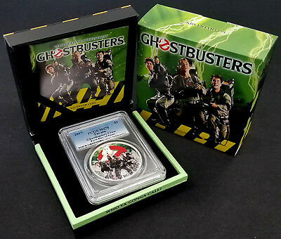 2017 Tuvalu $1 Ghostbusters Crew Silver Coin! PCGS certified FDOI, MS 70!