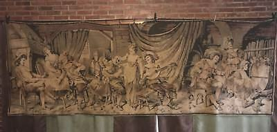 Antique 1800s Tapestry 4'x11' Wall Hanging Parlor Music Bar Scene Aubusson Large