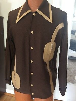 TRIUE VINTAGE 1950s Retro CARDIGAN MEN'S Sz M MADE IN ITALY WOOL& KID LEATHER