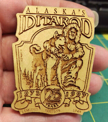 1997 Alaska Iditarod dog sled race, Wood laser engraved Pin, 1000 miles