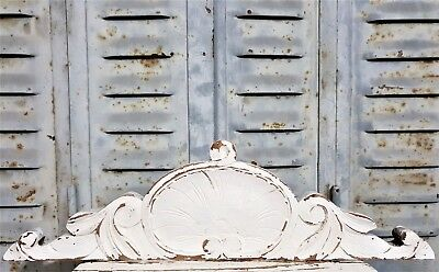 Shabby Painted Pediment Antique French Hand Carved Wood Scroll Leaves Carving