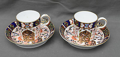 Royal Crown Derby Porcelain Imari PAIR CUP AND SAUCER TASSE PORCELAINE ANGLAISE