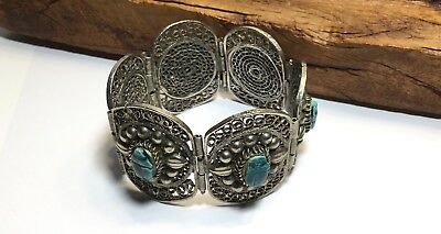 Vintage Egyptian Filigree Turquoise Color Carved Scarab Bangle Bracelet