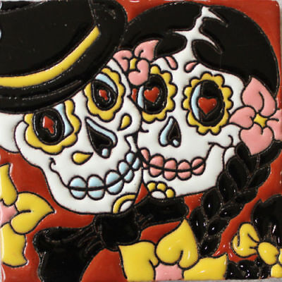 "Mexican Tile Talavera Day of  the Death Couple  Hi Relief 4 x 4 ""  High Quality"