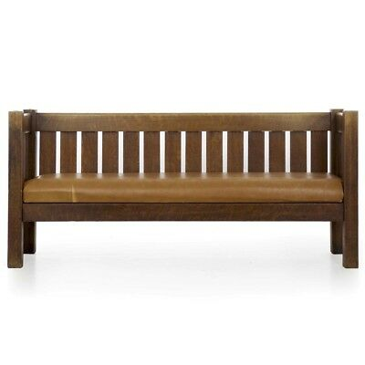 Mission Arts and Crafts Oak and Leather Even Arm Hall Settle Antique Settee Sofa