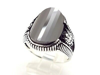 925 Sterling Silver Handmade Black Onyx Men's Turkish Ottoman Ring Size 11 Usa