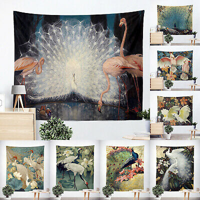 Vintage Oil Painting Flamingo Peacock Cockatoo Wall Hanging Tapestry Picnic Mat