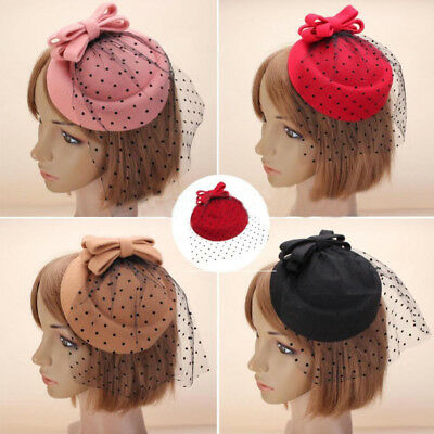 Women Fascinator Bowknot Hairclip Beret Hair Pillbox Hat Veil Cocktail Party Sur