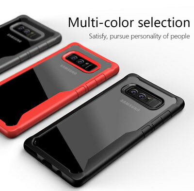 For Samsung Galaxy S8 S9 Plus Note 8 Shockproof Clear Bumper Hybrid Case Cover