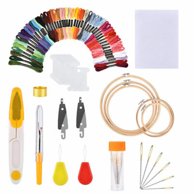 Embroidery Pen Punch Needle 50 Color Threads Knitting Sewing 5x Circles Tool Kit